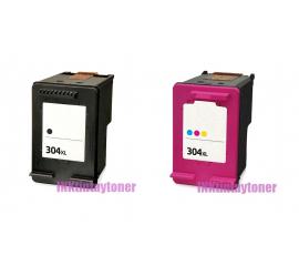 PACK X 2 HP 304XL NEGRO Y TRICOLOR CARTUCHOS DE TINTA COMPATIBLES (N9K06AE/N9K08AE) Y (N9K05AE/N9K07AE)