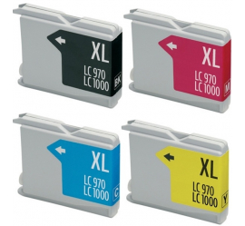 PACK 4 BROTHER LC1000XL/LC970XL CMYK CARTUCHOS DE TINTA COMPATIBLES