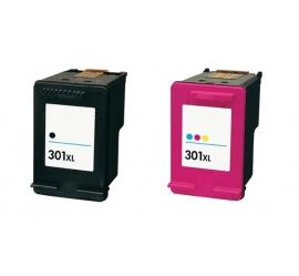 PACK X 2 HP 301XL NEGRO Y TRICOLOR CARTUCHOS DE TINTA COMPATIBLES (CH563EE) Y (CH564EE)