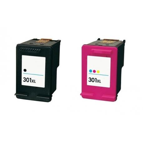 Pack 2 tinta Nº 301XL negro y tricolor compatible HP ...