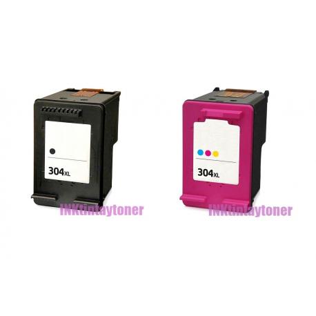 PACK X 2 HP 304XL V3 NEGRO Y TRICOLOR CARTUCHOS DE TINTA COMPATIBLES (N9K06AE/N9K08AE) Y (N9K05AE/N9K07AE)