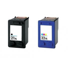 PACK HP 21XL/22XL NEGRO Y TRICOLOR CARTUCHOS DE TINTA COMPATIBLES (C9351AE/C9351CE) Y (C9352AE/C9352CE)