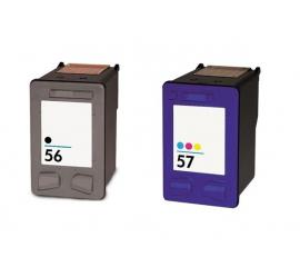 PACK HP 56/57 NEGRO Y TRICOLOR CARTUCHOS DE TINTA COMPATIBLES (C6656AE) Y (C6657AE)