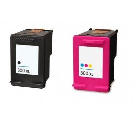 PACK HP 300XL NEGRO Y TRICOLOR CARTUCHOS DE TINTA COMPATIBLES (CC641EE) Y (CC644EE)