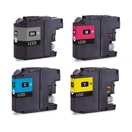 PACK 4 BROTHER LC121XL/LC123XL CMYK CARTUCHOS DE TINTA COMPATIBLES