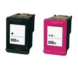 PACK HP 650XL NEGRO Y TRICOLOR CARTUCHOS DE TINTA COMPATIBLES (CZ101AE) Y (CZ102AE)