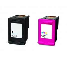 PACK HP 901XL NEGRO Y TRICOLOR CARTUCHOS DE TINTA COMPATIBLES (CC654AE) Y (CC656AE)