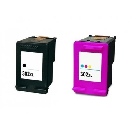 PACK X 2 HP 302XL NEGRO Y TRICOLOR CARTUCHOS DE TINTA COMPATIBLES (F6U68AE) Y (F6U67AE)