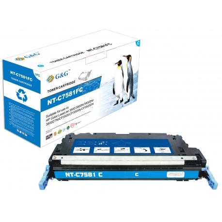 G&G HP Q7581A CYAN CARTUCHO DE TONER COMPATIBLE