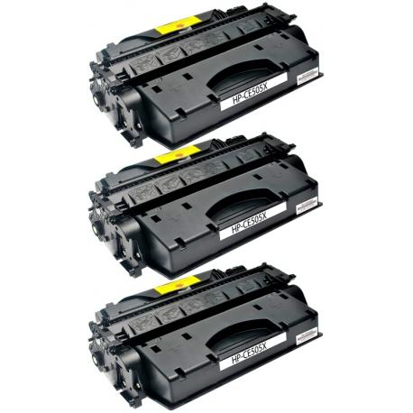PACK X 3 HP CE505X NEGRO CARTUCHO DE TONER COMPATIBLE Nº 05X
