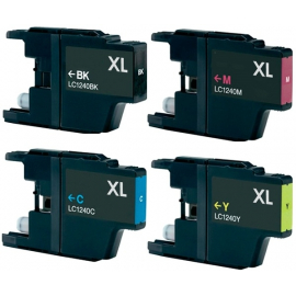 PACK 4 BROTHER LC1220XL/LC1240XL CMYK CARTUCHOS DE TINTA COMPATIBLES