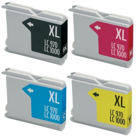 PACK 4 BROTHER LC1000XL/LC970XL CMYK CARTUCHOS DE TINTA COMPATIBLES