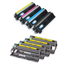PACK BROTHER TN230/DR230 CMYK 4 CARTUCHOS DE TONER Y 4 TAMBORES (DRUM) COMPATIBLES