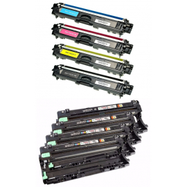 PACK BROTHER TN241/TN245/TN242/TN246/DR241 CMYK 4 CARTUCHOS DE TONER Y 4 TAMBORES (DRUM) COMPATIBLES