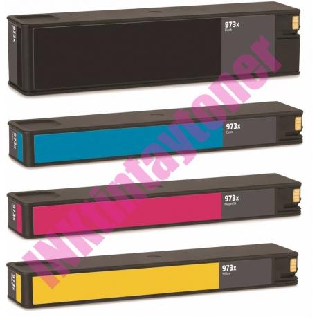 PACK 4 HP 973X V10 CMYK CARTUCHOS DE TINTA PIGMENTADA COMPATIBLES