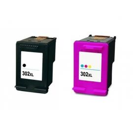 PACK X 2 HP 302XL V2 NEGRO Y TRICOLOR CARTUCHOS DE TINTA COMPATIBLES (F6U68AE) Y (F6U67AE) (NUEVA VERSIÓN)